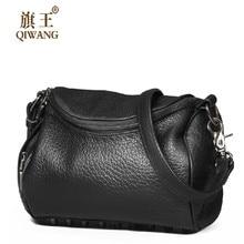 Qiwang Kleine Mode Frauen Rock Tasche Luxus Marke mit Schwarz Niet Handtasche Weiblichen 100% Aus Echtem Leder Crossbody umhängetasche