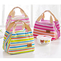 2016 Insulated Neoprene Canvas Stripe Thermal Bags Baby Tote Lunchbag Picnic Lunchbox Lancheira Termica Bolsa Termica