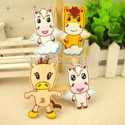 Cartoon horse cloth patch decals clothes pants decoration repair paste scrapbooking iron on patches applique frozen badge sewing