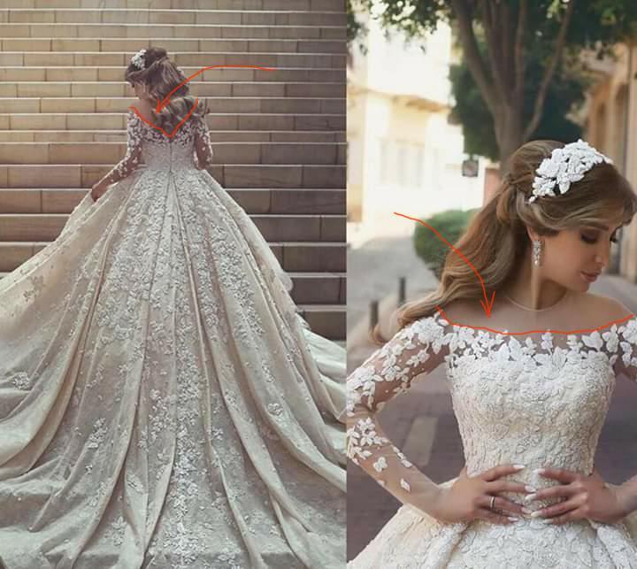 Gorgeous Wedding Dresses Full Sleeves Abiye Lace Bridal Dress Ball Gowns Appliques Dubai Wedding Gowns Vestido De Novia