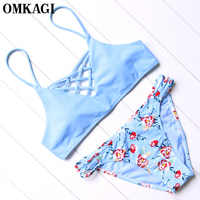 OMKAGI Brand Brazilian Bikini 2017 Swimwear Women Swimsuit Sexy Push Up Bikini Set Swimming Bathing Suit