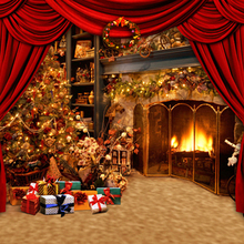 Fancy Xmas Tree Gold Fireplace Vintage Christmas Photography Backdrops Red Curtain Stage Background for Holiday 150cm*200cm