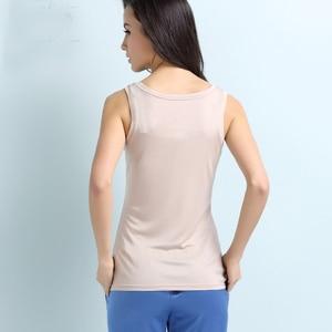 Image 2 - 100% czystego jedwabiu rzeczywistym bluzka damska bluzki z długim podstawowe zbiornik biały czarny czerwony femininas tank top koszulka bez rękawów