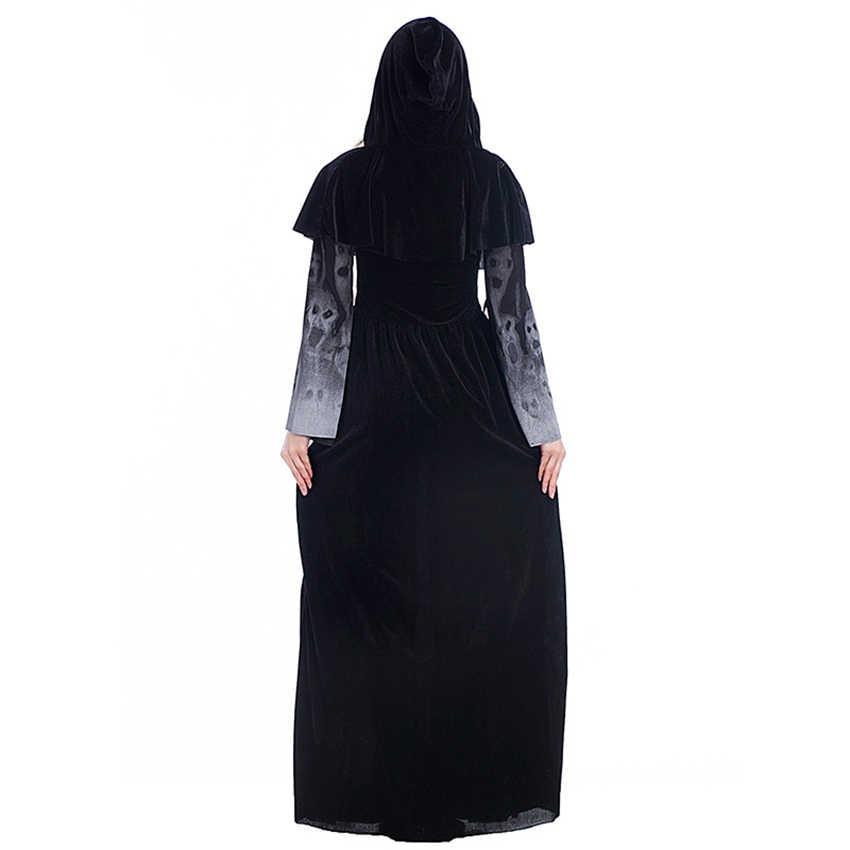 ליל כל הקדושים חדש שלד מודפס מכשפה ארוך ערפד שמלות משחק התפקידים שלב שמלות גבירותיי ליל כל הקדושים בגדים