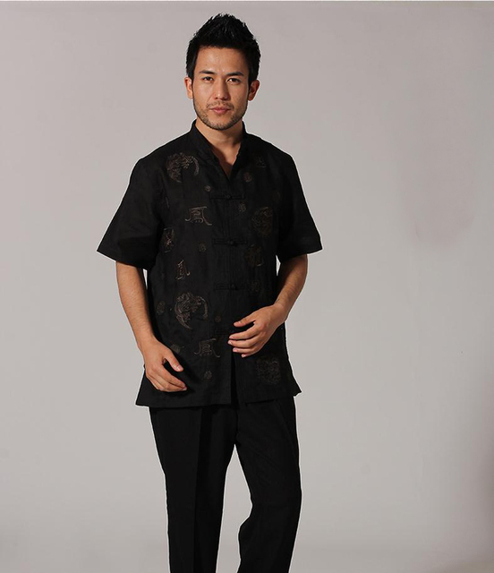 Novelty Black Chinese Traditional Men's Kung Fu Shirt Handmade Embroidery Dragon Cotton Linen Shirt M L XL XXL XXXL MNS25