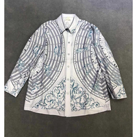 Весна Лето 2019, женская блузка, Высококачественная шелковая женская рубашка с надписями, рубашка с рукавами, простая рубашка