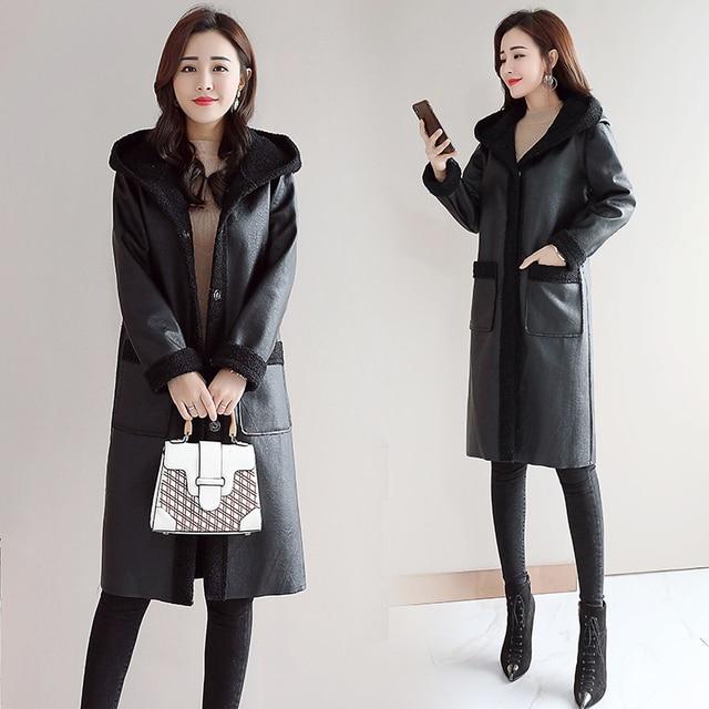 8f01dedb8 MUMUZI Chegada Nova Moda Das Mulheres Jaqueta de Inverno 2019 Alta  Qualidade Senhoras Casaco Longo Com Capuz Pele Quente Outwear Parkas