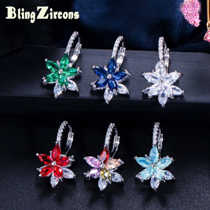 BeaQueen Lovely Flower Multicolored Cubic Zirconia Stones Simple Cute Stud Earrings Fashion Party Jewelry for Ladies E050