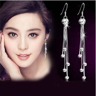 2016 New arrival high quality long tassels design 925 sterling silver female stud earrings wholesale jewelry