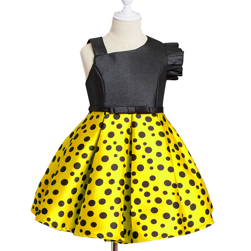 New Style Children One Shoulder Diagonal Fashion Polka Dot Dress Red and Yellow Sleeveless Ladies Dresses for Wedding Party muqgew new fashion 2018 children party
