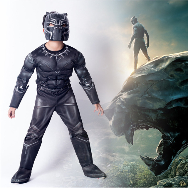 Muscle Black Panther Cosplay costume Halloween Masks Realistic children Party clothing jumpsuit+mask+shoes 3pcs