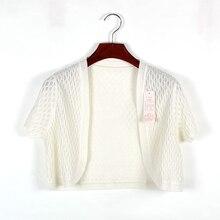 Summer  women's silk shrug small cape black and white short-sleeve coat mulberry silk