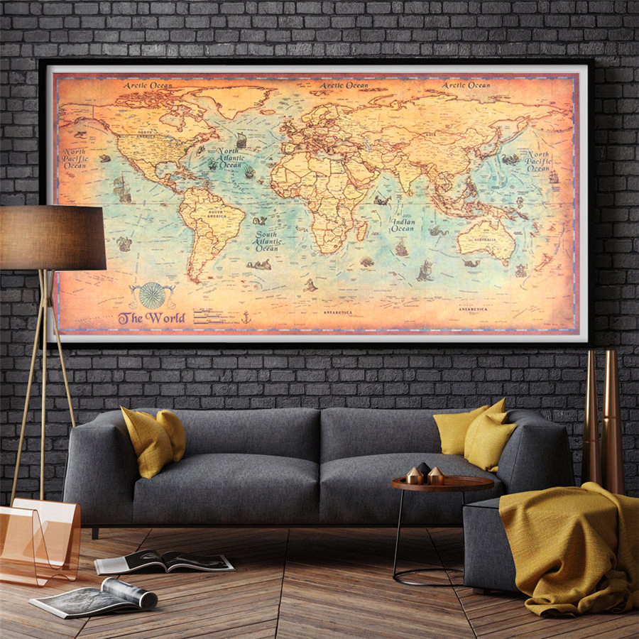 Nautical Ocean Sea World map Retro Old Art Paper Painting Wall Home ...