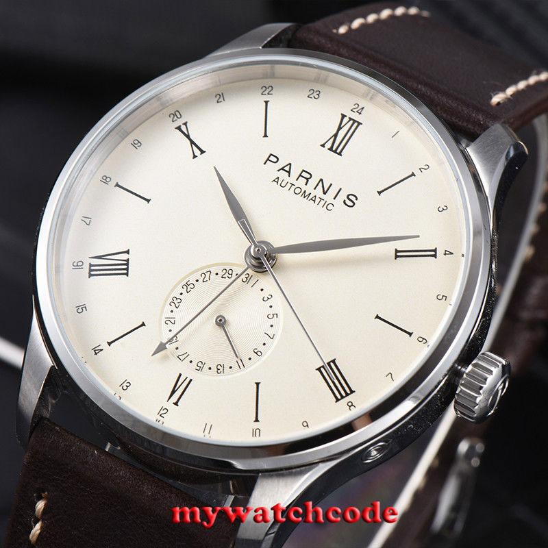 Gift 42mm Parnis beige wijzerplaat 24 Uur Handset ST1690 Automatisch Uurwerk Mannen Kijken-in Sporthorloges van Horloges op  Groep 3
