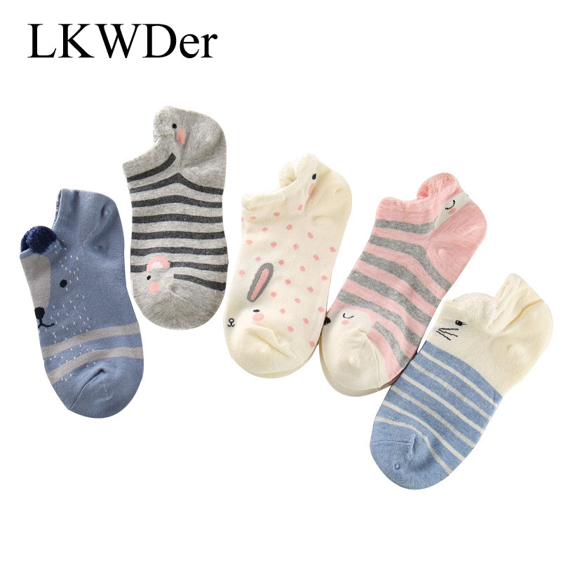 5 Pairs Women Ankle   Socks   Funny Cute Cartoon Stereoscopic Animals Ear Plush Boat   Socks   Womens Lady Girl Art   Sock   Meias Short Sox