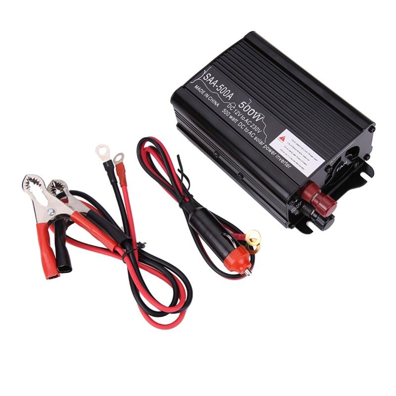 imágenes para Negro Portable Del Coche Inversor de la Energía 300-1500 W Solar Power Inverter Cargador Adaptador Convertidor de 12 V DC-240V AC Modificado fuente de Alimentación