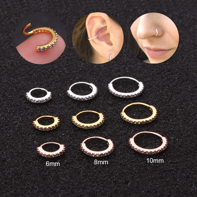 Sellsets 1PC 6/8/10mm Cz Nose Hoop Helix Cartilage Earring Daith Snug Rook Tragus Ring Ear Piercing Jewelry