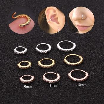 Sellsets 1PC 6 8 10mm Cz Nose Hoop Helix Cartilage Earring Daith Snug Rook Tragus Ring.jpg 350x350 - Sellsets 1PC 6/8/10mm Cz Nose Hoop Helix Cartilage Earring Daith Snug Rook Tragus Ring Ear Piercing Jewelry