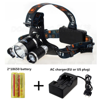 waterproof Headlamp CREE XML T6 5000 Lumens Rechargeable lampe frontale head Lamp Hunting camping + 2pcs 18650 battery + charger