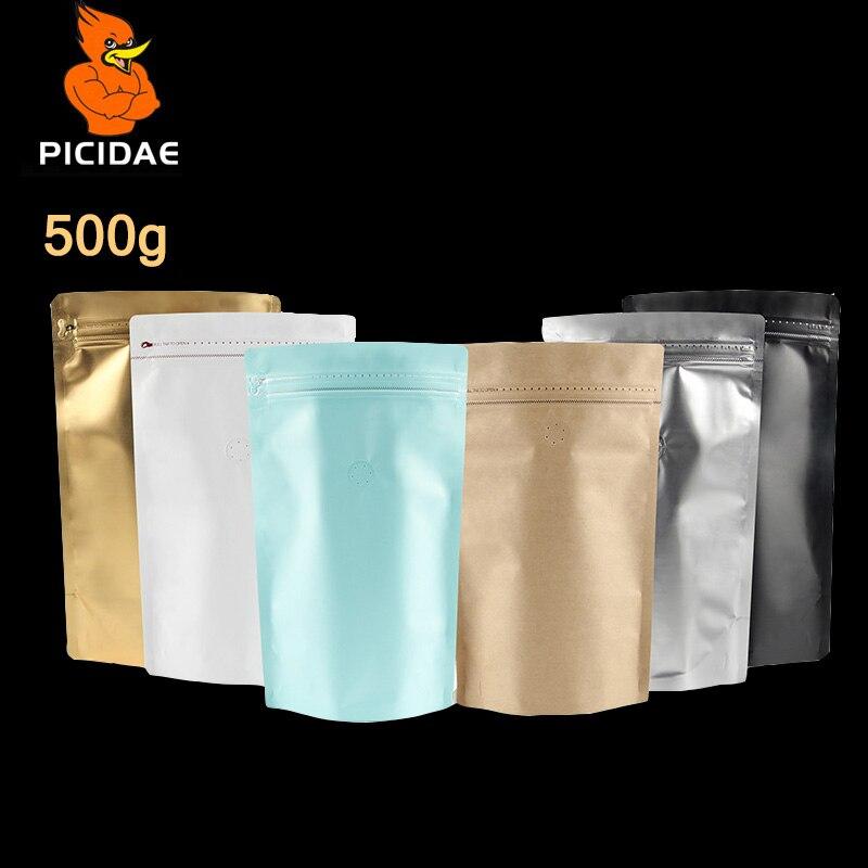 Ev ve Bahçe'ten Saklama çantaları'de 1 pound çikolata kahve Rahat Kurabiye 500 g Çanta Kendinden destekli zincir zip kilit Ayakta Alüminize kilitli folyo düz vana Yüksek'da  Grup 1