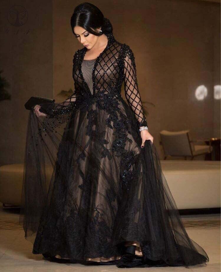 Arabian Design Evening Dresses Appliqued Beaded Crystals Long Sleeve Black Mother Dresses 2019