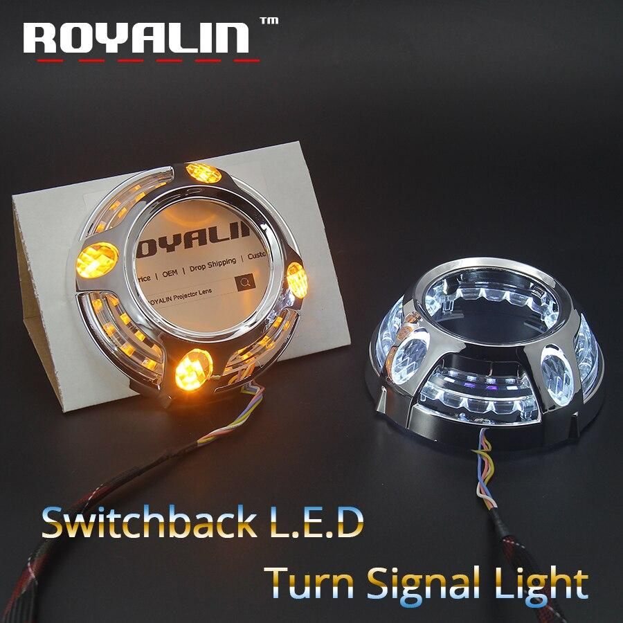 ROYALIN Switchback LED Daytime Running Light 3.0 Projector Lens Angel Eyes For Panamera Auto Headlight White Yellow Turn Signal