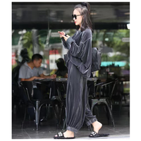 Autumn New Lady Velvet Cardigan And Jacket Casual Suit Green Two Piece Set Solid Coat Office