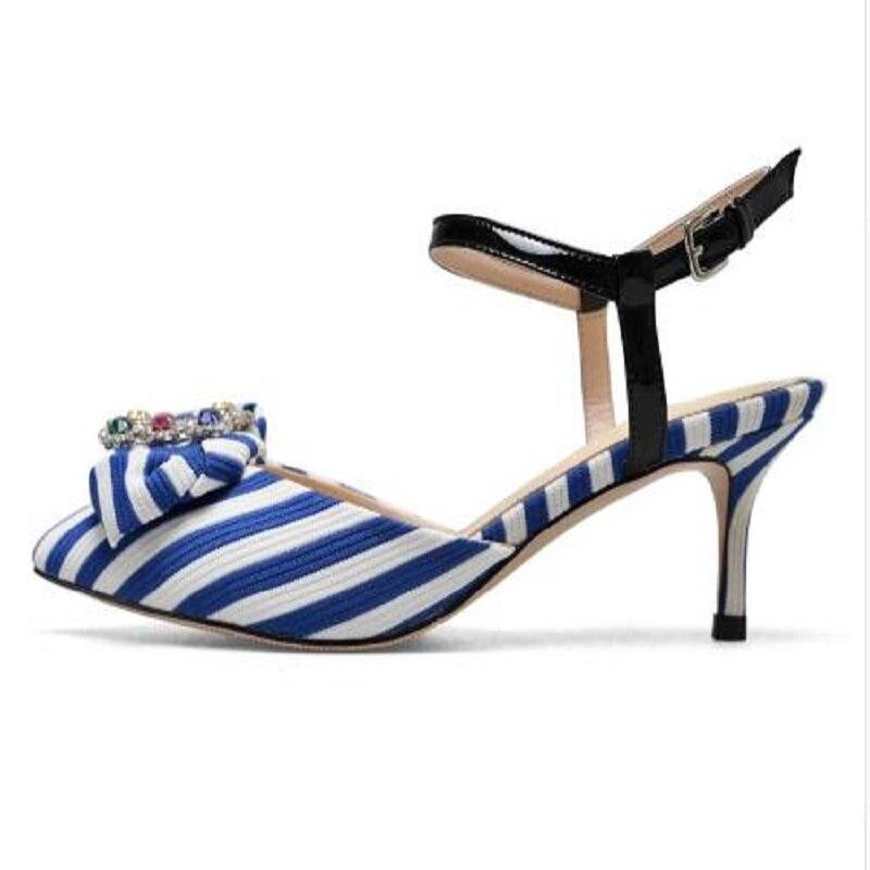 DIJIGIRLS new pointed toe hemp natural skin ankle straps crystal high heel women pumps high street fashion slingback shoes