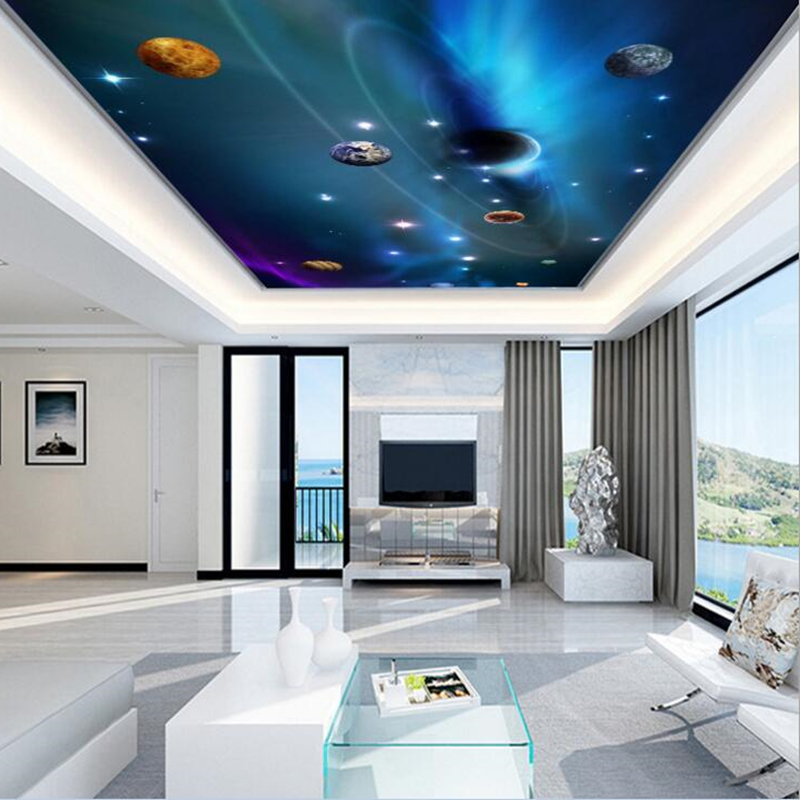 Modern 3D Ceiling Mural Space Planet Photo Wallpapers For ...