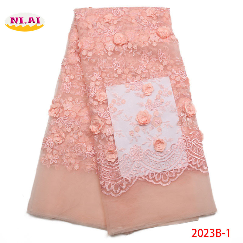 Peach Tulle Lace Fabric 2018 3D Flower Embroidered Lace Newest Lace African Fabric MR2023B