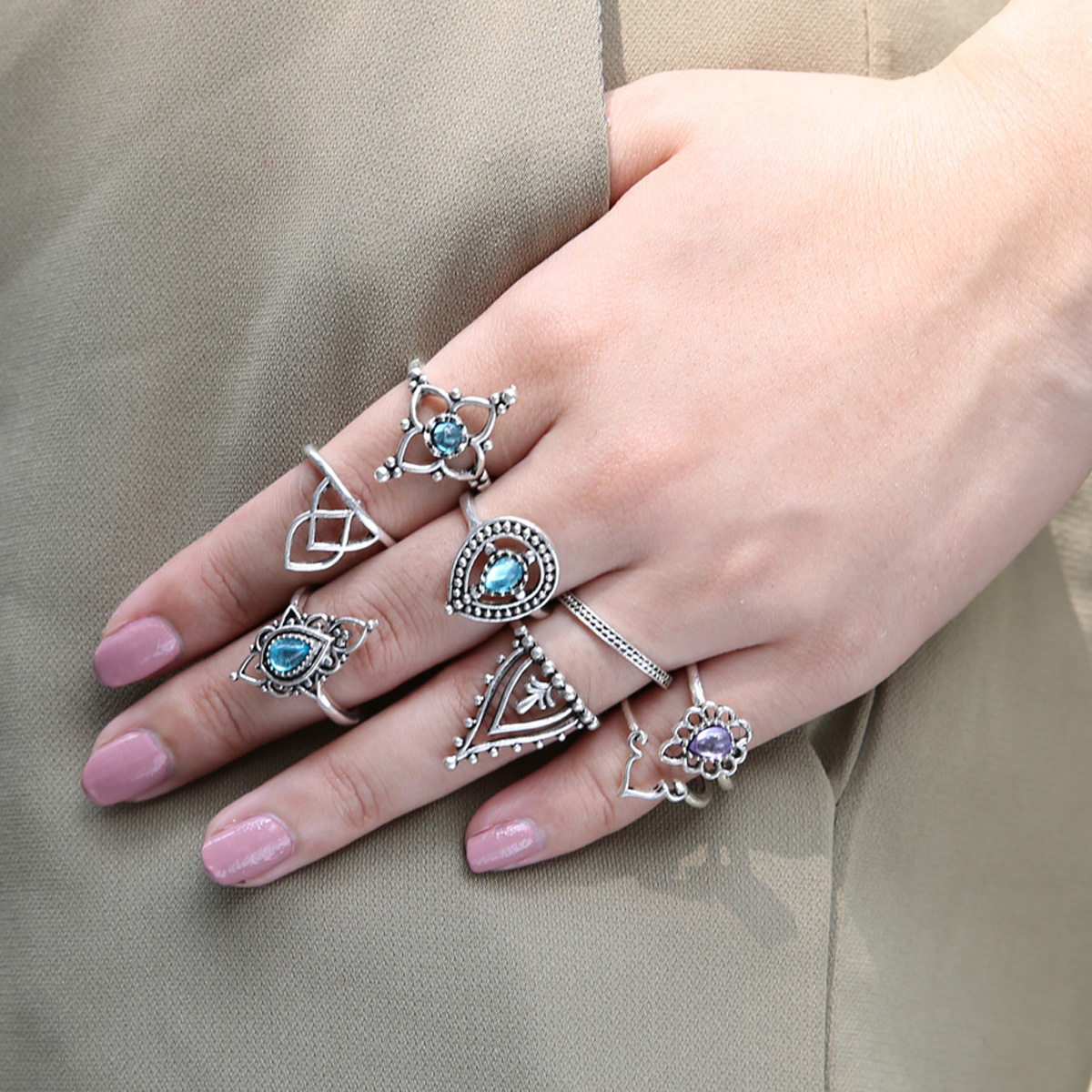 10pcs Boho Vintage Knuckle Stacking Ring Punk Silver Gold Color ...