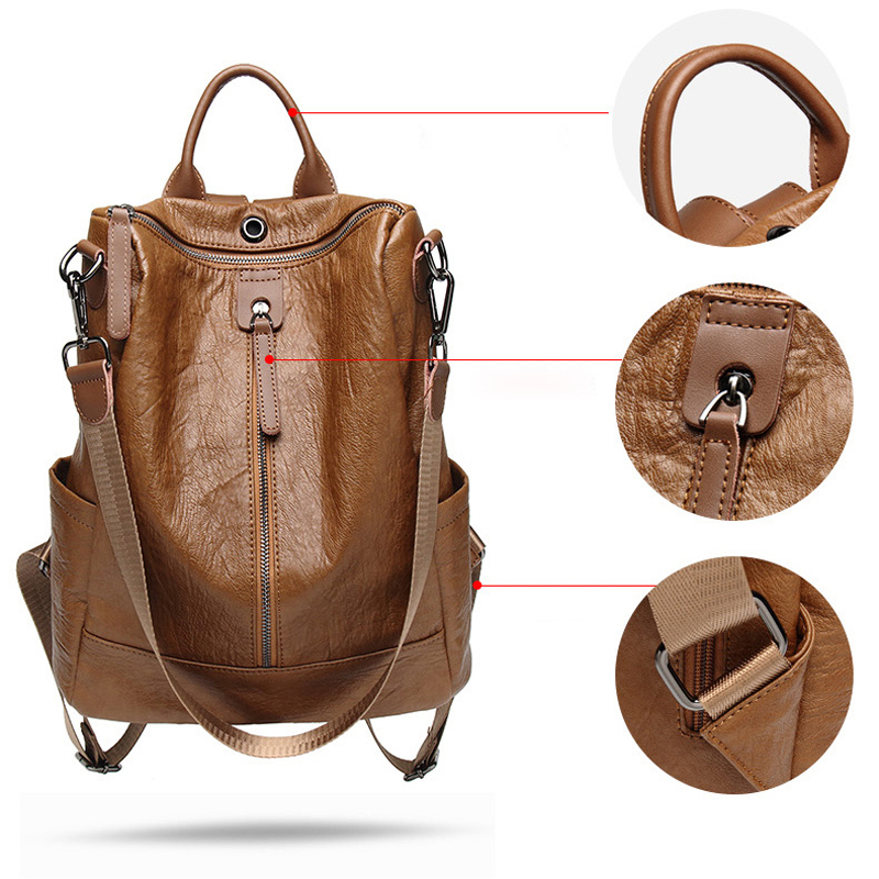 POMELOS Backpack Women High Quality Soft PU Leather Backpack Back Pack For Women Fashion Backpack Designer Travel Rucksack Women in Backpacks from Luggage Bags