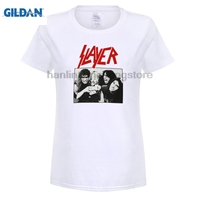 GILDAN SLAYER WHITE BAND T SHIRT DAVE LOMBARDO JEFF HANNEwoman TOM ARAYA KERRY KING 2018 Ultima Tees donne T-Shirt 100%