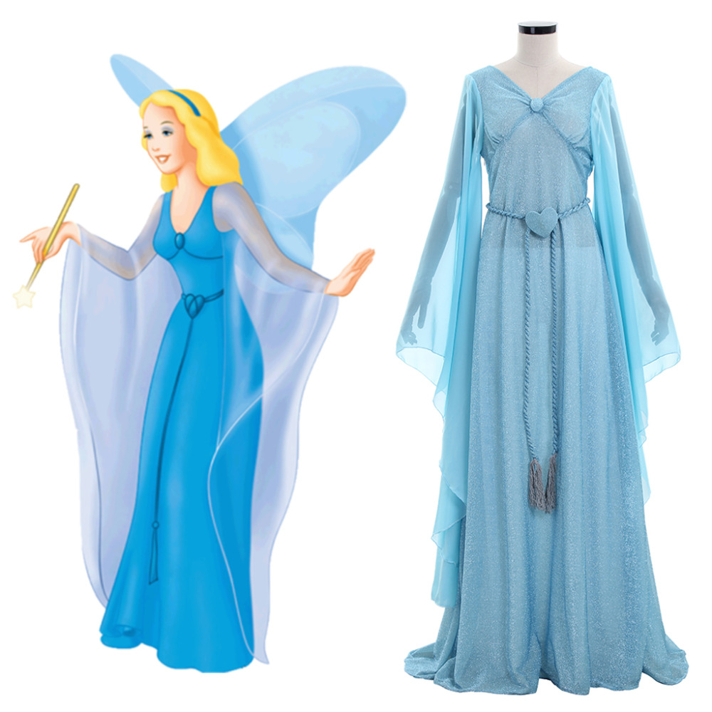 The Adventures of Pinocchio Blue Fairy Princess Dress Costume Halloween Carnival Costume Cosplay Adult Women