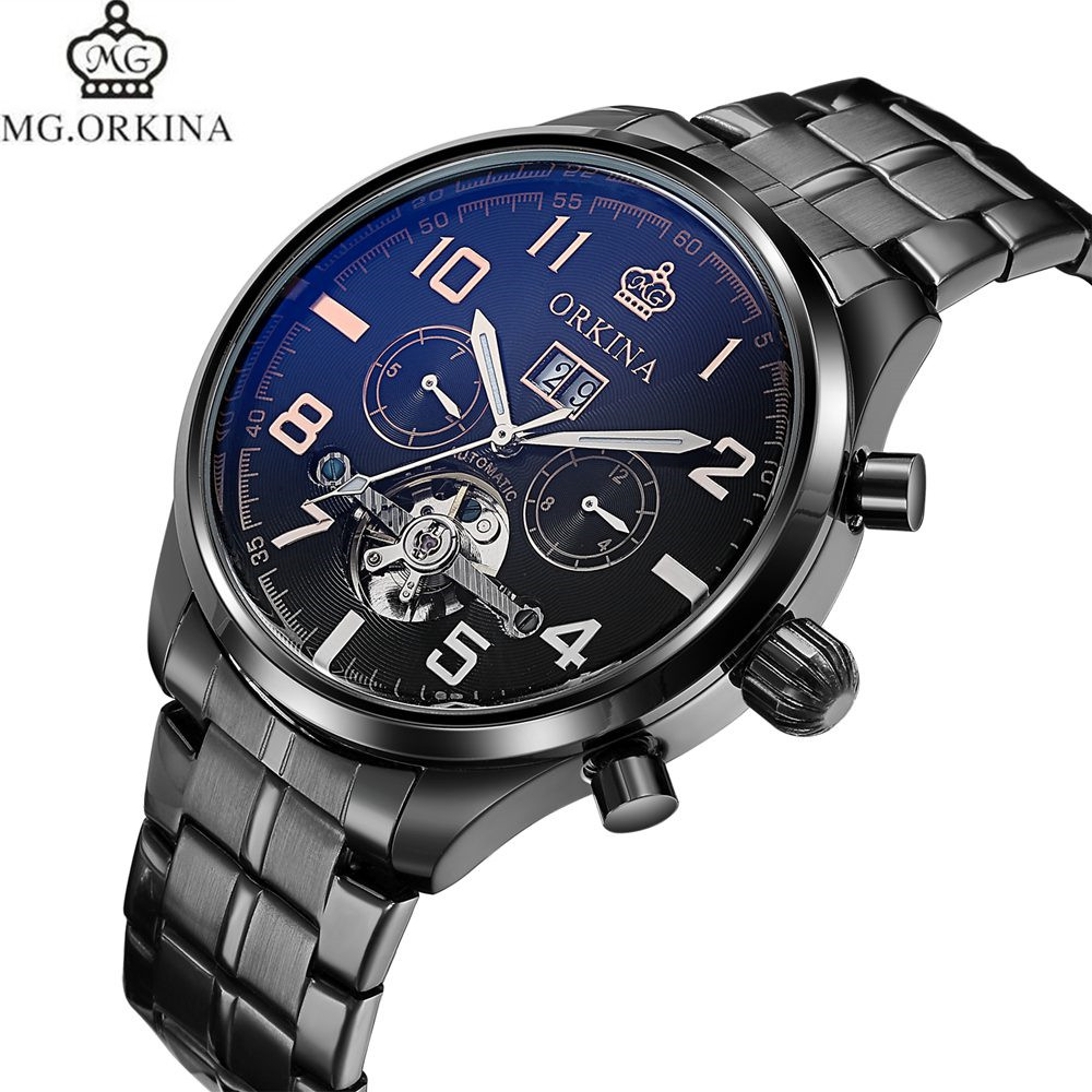 MG.Orkina Mens Watches Top Brand Luxury Gold Black Steel Month Date Day Automatic Self Mechanical Watch+Gift Box Free Ship mens watches top brand luxury gold