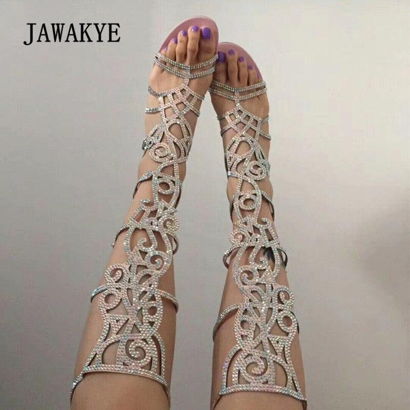 2018 Роскошные Римские сандалии женская обувь с открытым носком Bling обувь с массивным каблуком пикантные женские полые сапоги выше колена сап