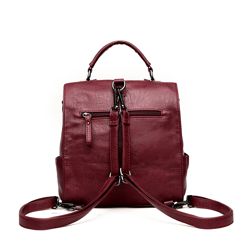 2019 New Fashion Backpack Women Genuine Leather Backpack Female School Bags Patchwork Real Sheepskin Leather Back Pack in Backpacks from Luggage Bags