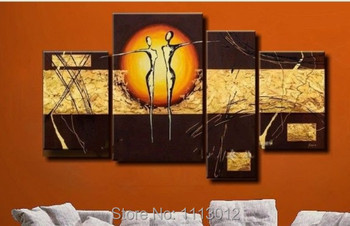 Hot Modern Abstract Yellow Sun Line Dancer Oil Painting On Canvas 4 Panel Arts Set Home Wall Decoratiove Picture For Living Room