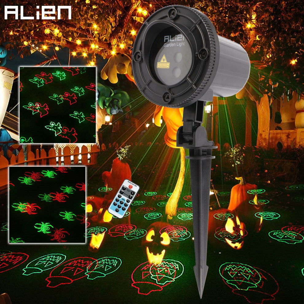 ALIEN Remote RG 12 Patterns Halloween Outdoor Laser Projector Christmas  Party Garden Home Waterproof Pumpkin Laser