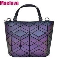 NEW Maelove Luminous bag Fashion Geometric handbag Diamond Tote Quilted Shoulder Bags Laser Plain Folding tote hologram bag