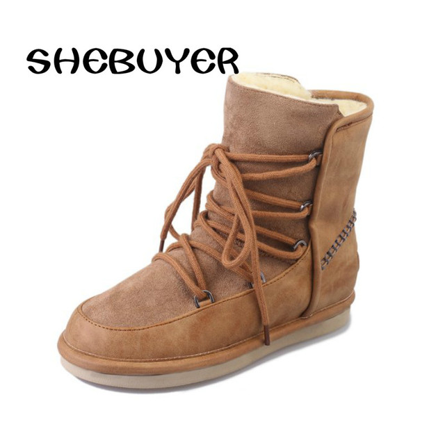 Shebuyer Women Winter Ankle Boots Flat Snow Boots Warm Fur Inside Botas  Mujer Woman Shoes Plush Slip on Round Toes Short Boot f2741a9c49da