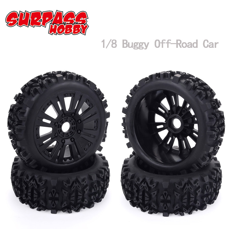 4pcs 17mm Hub Wheel Rim & Tires Tyre For 1/8 Off-Road RC Car Buggy KYOSHO HPI LOSI HSP  GT2 Redcat Axial Traxxas