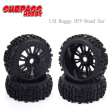 цена на 4pcs 17mm Hub Wheel Rim & Tires Tyre for 1/8 Off-Road RC Car Buggy KYOSHO HPI LOSI HSP  GT2 Redcat Axial Traxxas