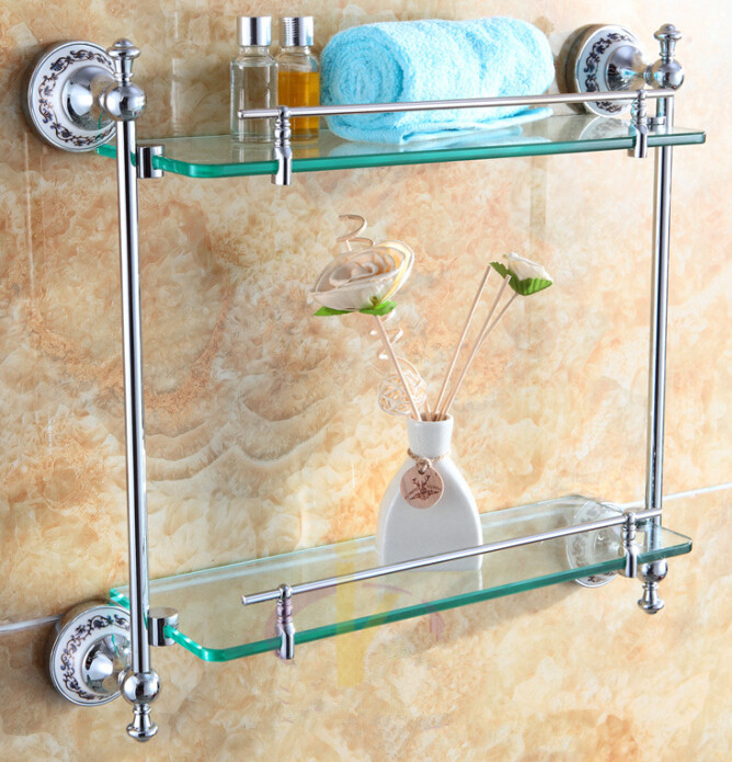 Free shiping Bathroom Accessories Products Solid Brass Chrome Finished Double ceramic Glass shelf  DB012K-1 free shiping copper gold paint double layer glass shelf shelving bathroom shelf bathroom shelf gb012d 1