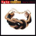 Unisex Statement  Gold Plated Chunky Twisted Braid Rope Black Green Pink Punk Rock Bracelets Bangle for Women Man Wholesale