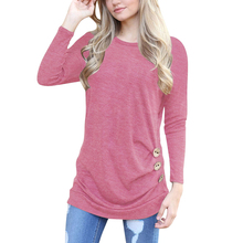AN.ORIGIN New solid Round neck plus size T-shirt long sleeve shirt Casual with Button Fashion women clothing 2019