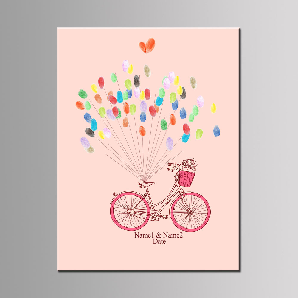 1 Set DIY Pink/Blue Love Bicycle Fingerprint Canvas Painting For ...