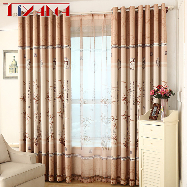 Chinese Bamboo Design Curtains Drapes For Living Room Sheer Tulle ...