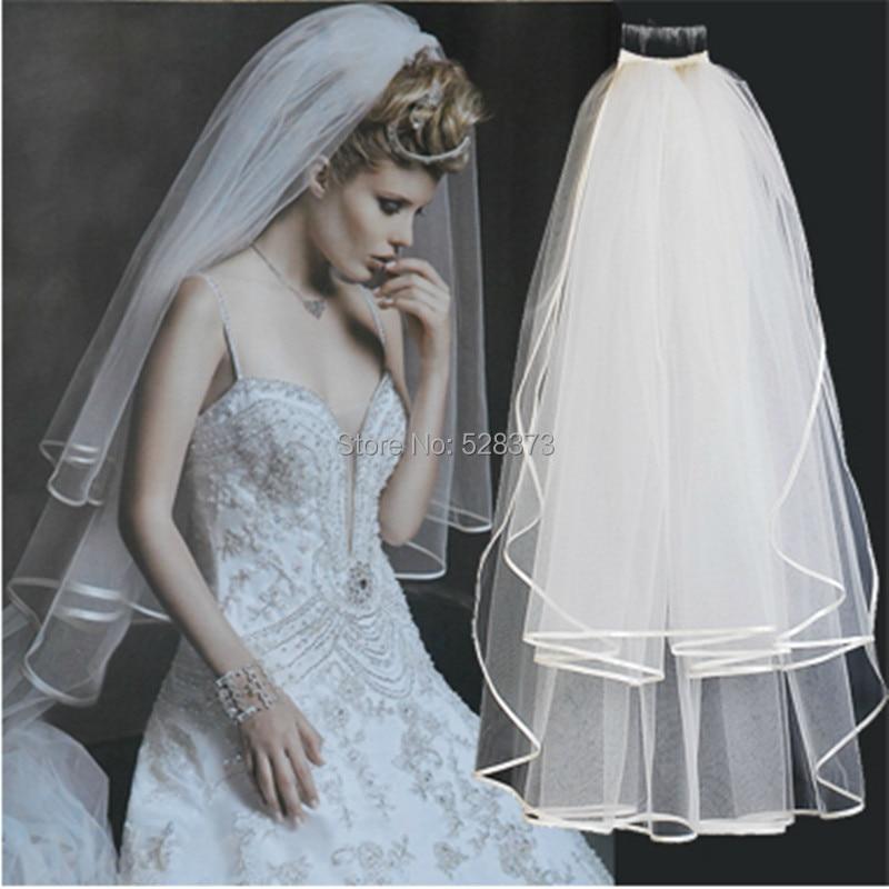YNQNFS WV6 Double Layers Tulle Hair Veil Elbow Length Waist Length Veil Wedding Veil With Comb