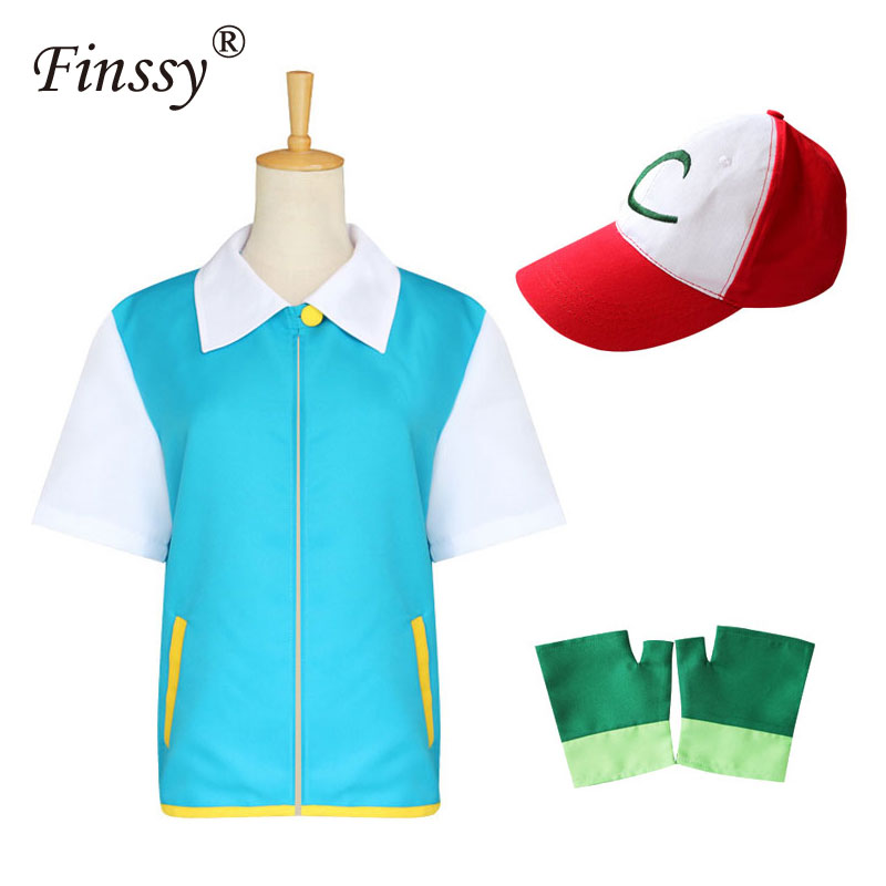 Cosplay Ash Ketchum Costume adult for Men Blue Jacket Gloves Hat Ash Ketchum Cosplay for Boys